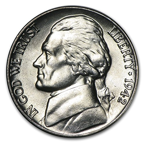 1942 P Silver Jefferson Nickel BU Nickel Brilliant - Nickel Mintage Jefferson