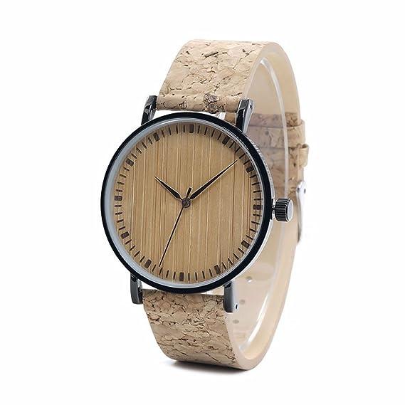 dxlta cuarzo reloj Madera Reloj de pulsera para mujer hombre Outdoor con corcho pulsera hombre Relojes