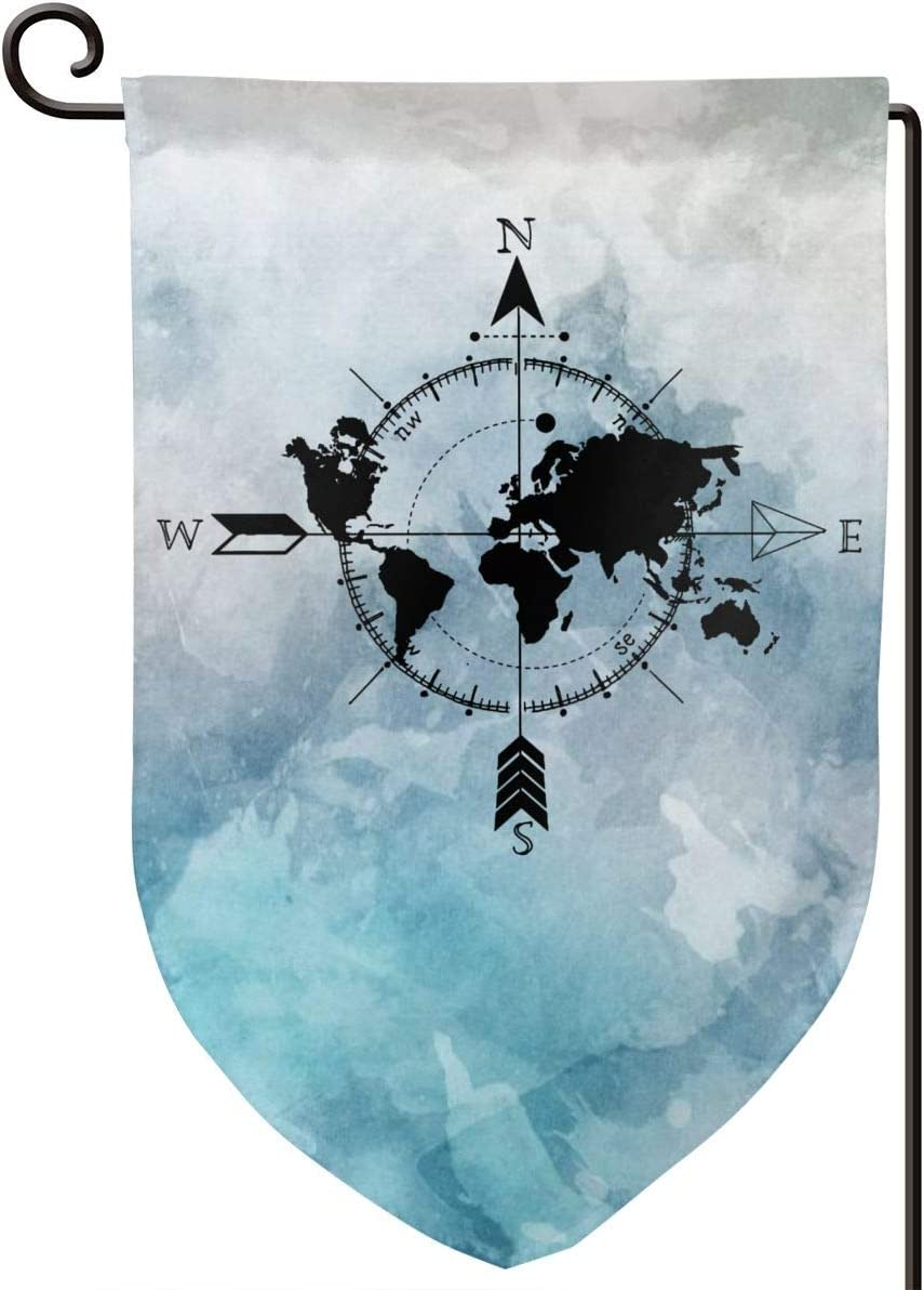 CHANGQUDD World Map Compass Home Decoration Garden Flag 1218 in (Double Side)