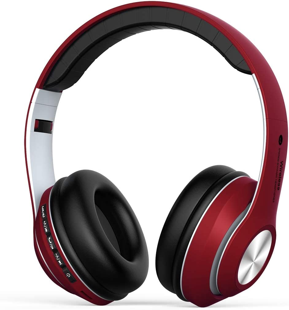 Auriculares Inalámbrico Diadema Over-ear, Cascos Bluetooth 4.2 Pleagable con Micrófono Manos Libres, Auriculares Cerrados Reduccion Ruido, Hi-Fi Sonido Estéreo compatible con PC,Android,Móviles-Rojo