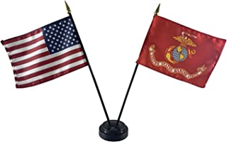 product image for 4x6 E-Gloss United States Marine Corps (USMC) Stick Flag w/U.S. Stick Flag & 2 Flag Plastic Table Base - Qty 3