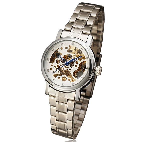 2017 Winner relojes mujer marca de moda Rhinestone Esqueleto Automático Mecánico Reloj de pulsera Full dorado