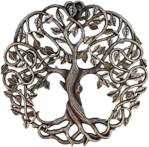 Old River Outdoors Tree of Life Wall Plaque 11 5 8 Decorative Celtic Garden Art Sculpture – Antique Silver Finish