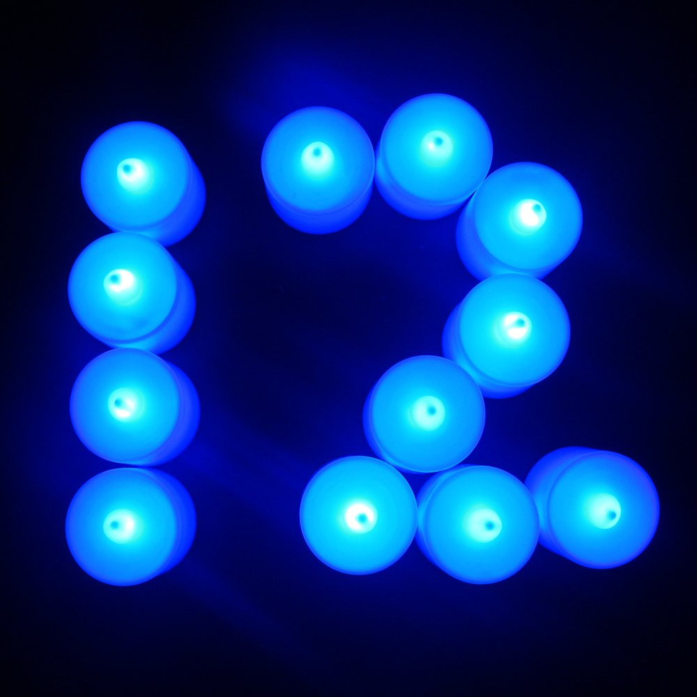 Flameless Candles,T-Trees LED Tea Light Candles With Battery-Powered Safety Electric Flickering Bulb Tealight Candles Decorations For Christmas Wedding Birthday Party Celebration (Blue 12pcs) by T-Trees (Image #5)