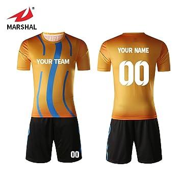 Marshal Jersey New Design 2018 Custom Team Soccer Jerseys Set Gold Design  Custom Men s Training Uniform a3738eb96