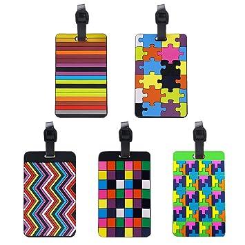 768621128056 Paxcoo 5 Pcs PVC Luggage Tags Travel Suitcase Labels  Amazon.co.uk ...