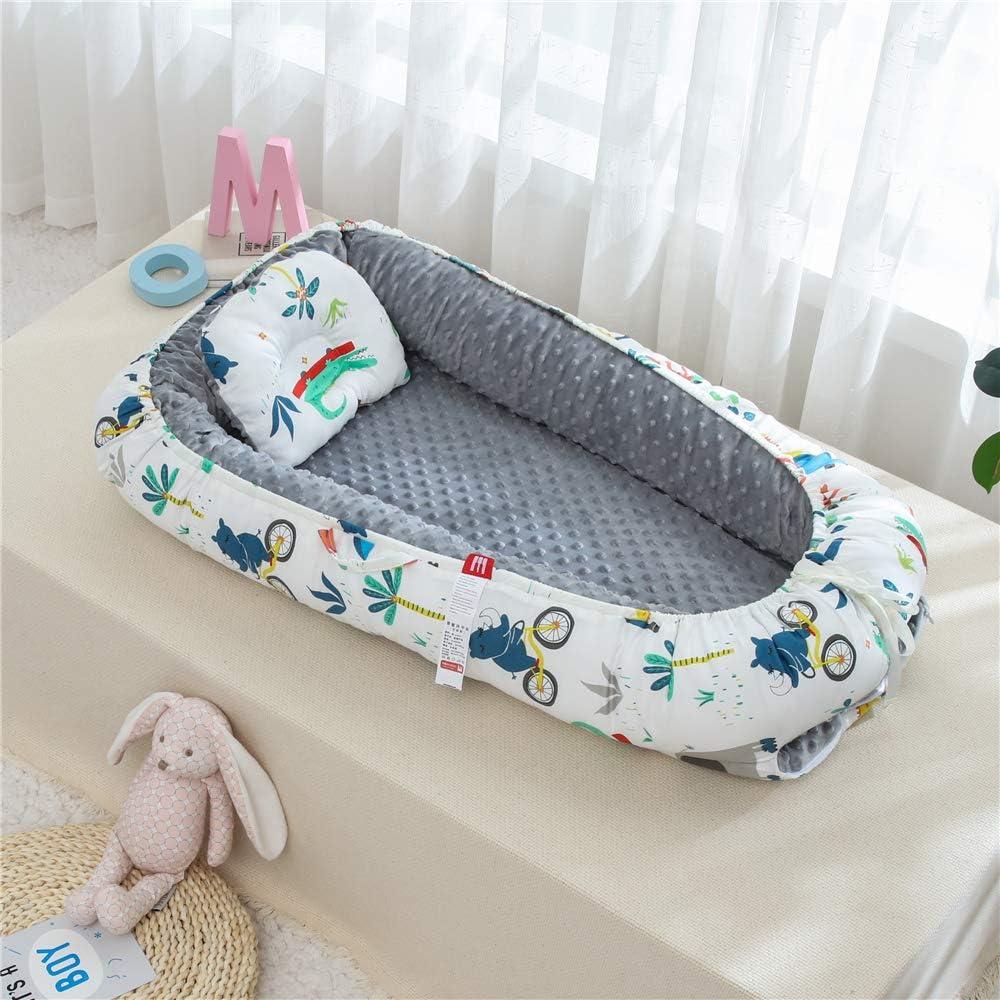 TEALP Cama Nido de Beb/é Reci/én Nacido Cuna de Viaje Port/átil gris elefante Cuna para beb/é reci/én nacido para 0 a 24 meses