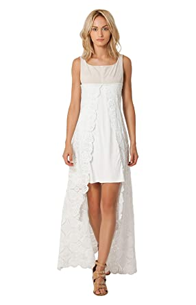 White Lace Overlay Maxi Dress Sleeveless Special Occasion