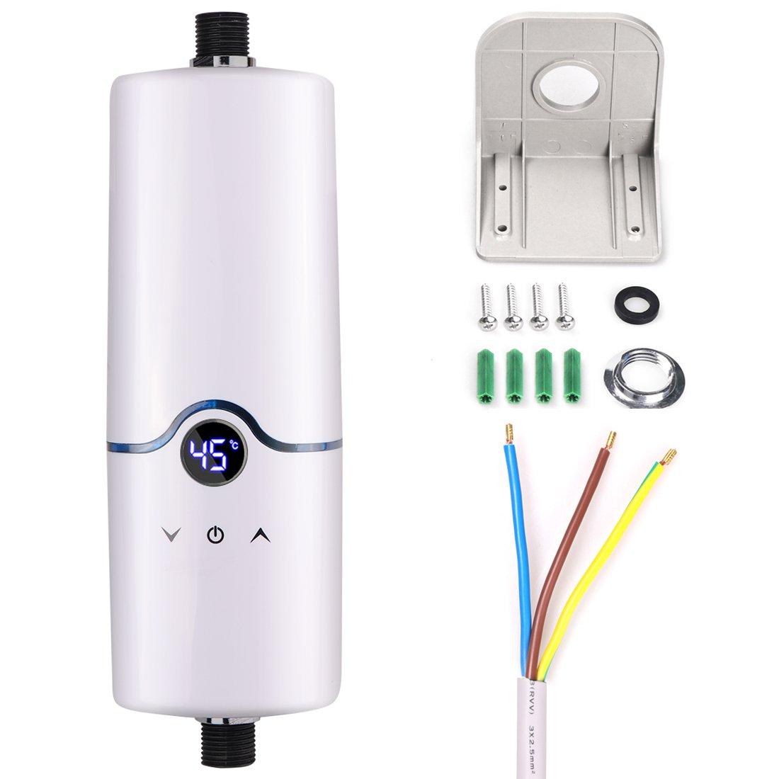 Calentador de agua sin tanque eléctrico instantáneo caliente de 240V 4 niveles de poder (5.5KW 5KW 4.5KW 3.5KW) para la cocina del cuarto de baño (blanco): ...