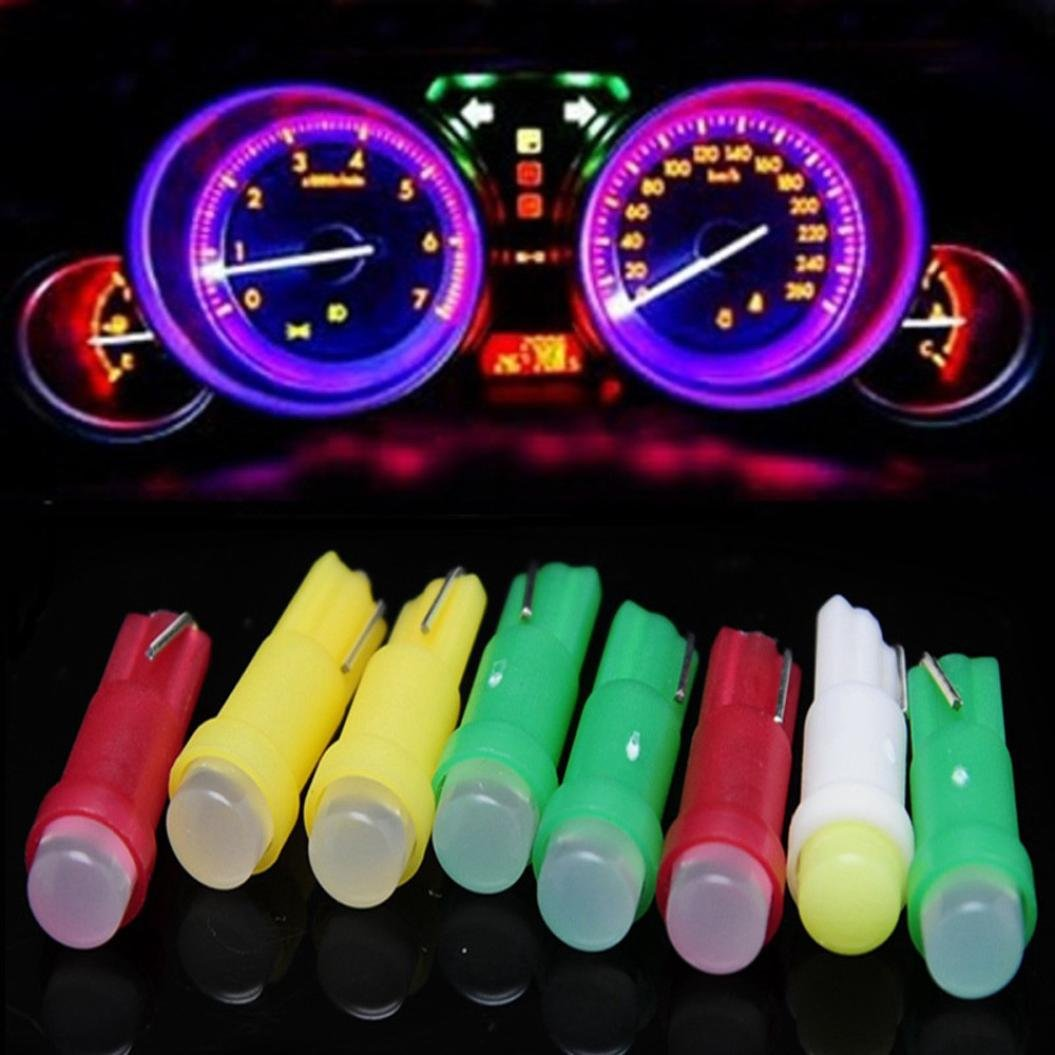 Glumes Super Bright T5 COB Fluorescence LED Lamps Car Door LED Reading Light Bulbs for Car Motor Interior Dome Parking Side Turn Signal Dashboard License Number Plate Light Bulbs Lamp (Pink)