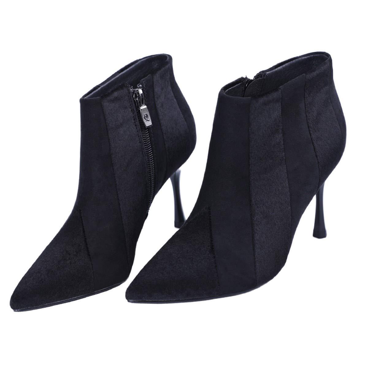 LBTSQ-Sexy Zusammenfügen Dünn Dünner Stiefel 8Cm Temperament Kurz Darauf Stiefel High Heels Ma Dingxue.