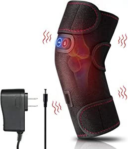 Clheatky Heated Knee Massager, Knee Massager for Pain Relief, Electric Heating & Vabration Knee Brace Wrap Pad with AC Adapter and USB Cable for Arthritis and Muscles Pain Relief Fits Men and Women