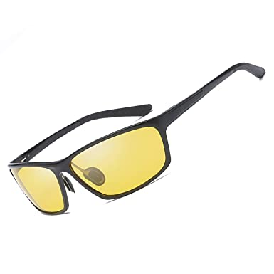 79083287d13 Men s Night Driving Glasses with Anti Glare Polarized Lenses Al-Mg Metal  Frame for Fishing Riding Motorcycling