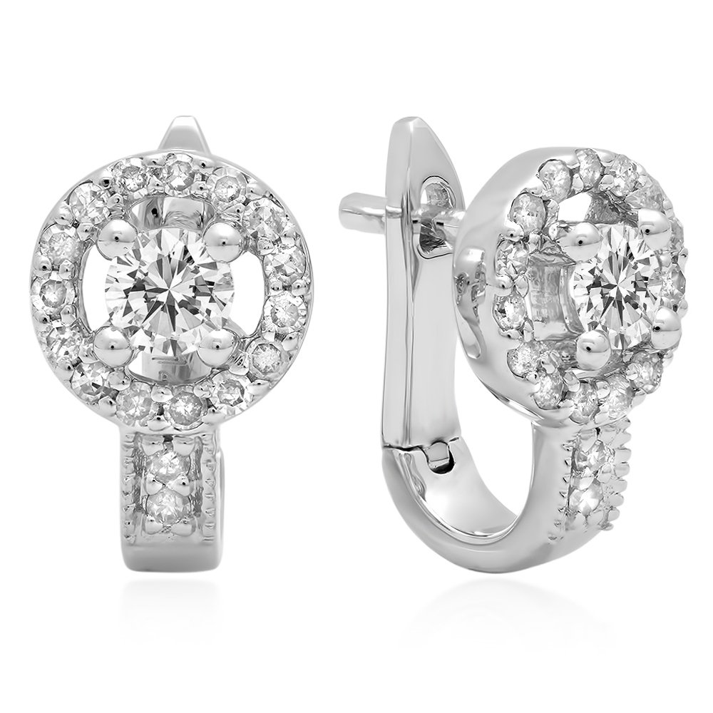 0.50 Carat (ctw) 14K White Gold Round White Diamond Ladies Halo Style Hoop Earrings 1/2 CT