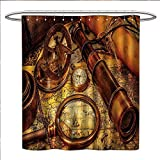 Antique Fishing Lure Shower Curtain Antique Shower Curtain Collection by Magnifying Glass Compass Telescope and Pocket Watch on an Old Map Nautical Custom Made Shower Curtain W69 x L75 Orange Brown Yellow