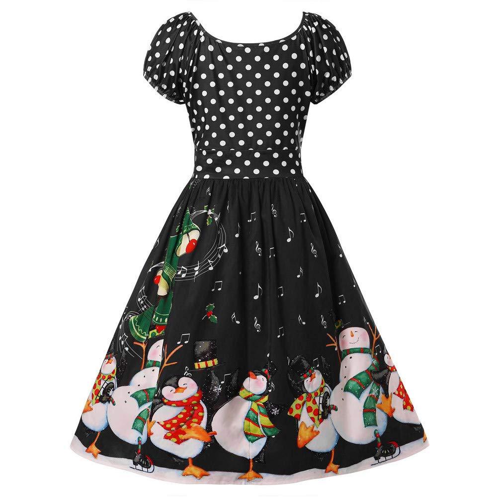 AIni Kleider Damen Vintage Petticoat Lange /Ärmel Ballkleid Hepburn Cocktailkleid Rockabilly Plus Size Pinguin Dot Druck Weihnachten O-Neck Partykleid