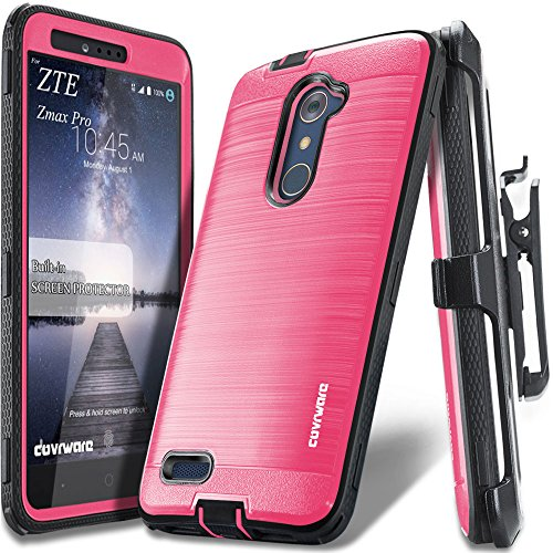 COVRWARE ZTE ZMAX PRO [IRON TANK Series] Built-in [Screen Protector] Heavy Duty Full-Body Rugged Holster Armor [Brushed Metal Texture] Case [Belt Clip][Kickstand] For ZTE ZMAX PRO / ZTE Carry, Pink