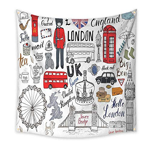 Doodle Simple Tapestry I Love London Double Decker Bus Telephone Booth Cab Crown of United Kingdom Big Ben Unique Tapestry Multicolor 63W x 63L Inch ()