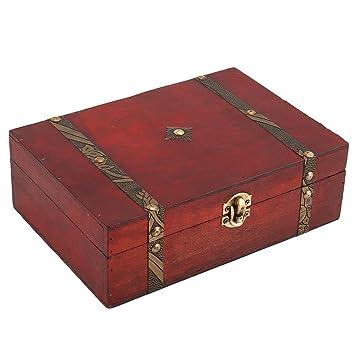 ZhongYeYuanDianZiKeJi Caja de Madera Vintage, Cofre del Tesoro Pirata para Almacenamiento Construcción de Madera de Época Único Hecho a Mano: Amazon.es: ...