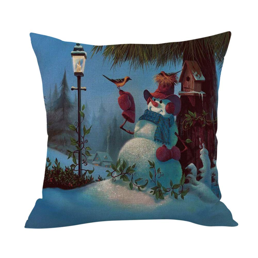 Merry Christmas Throw Pillow Cases Pgojuni Cushion Cover Cotton Linen Pillow Cover 1pc 45cmx45cm (C)