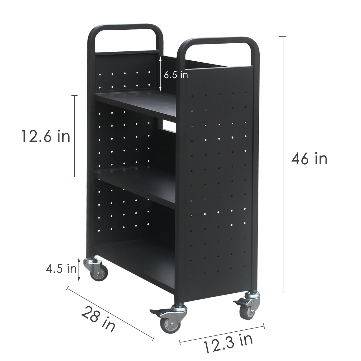H&A Rolling Book Cart Home Office Library Book Truck Flat Storage Organizer Shelves 200lbs Capacity (Black) by Hans & Alice (Image #2)