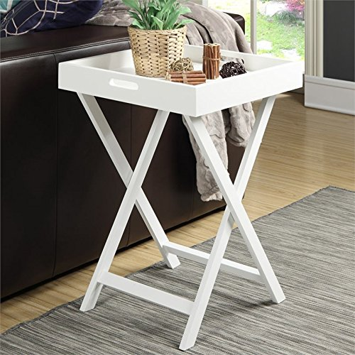 Convenience Concepts Designs2Go Baja End Table with Removable Tray, White -  131749W