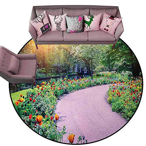 """Anti-Slip Outdoor Rugs Garden,Spring Landscape with Colorful Tulips Keukenhof Garden in Netherlands Horticulture,Multicolor Diameter 78"""" Round Outdoor Carpet from DayOn Rugs"""