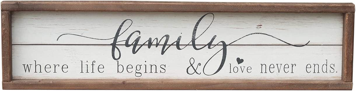 Wood Framed Wall Sign Family Decor with Quotes | Family Where Life Begins & Love Never Ends Farmhouse Wooden Wall Art Sign Plaque