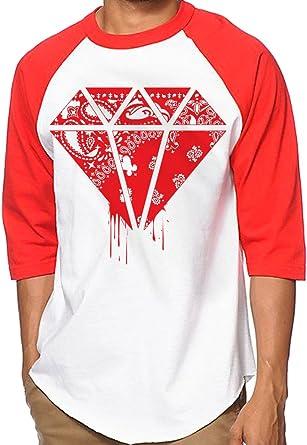 Amazon.com: CaliDesign White Red Bandana Hip Hop Baseball Jersey ...