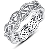 Anillos de Plata 925 Sparkling Braided Paved Zirconia Studded Finger Ring for Women