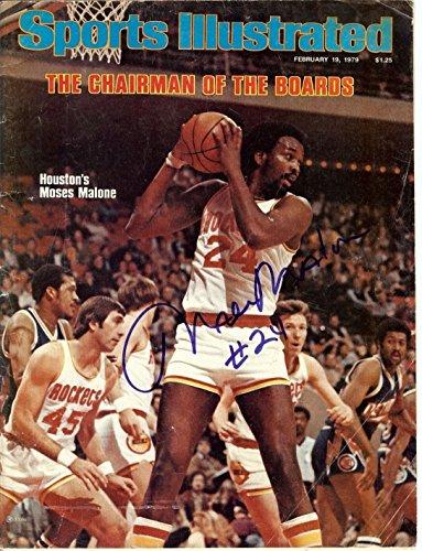 (Moses Malone Hand Signed Autographed Sports Illustrated Full Magazine Feb 1979)