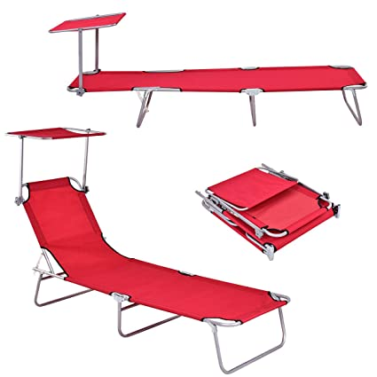 Amazon.com: Giantex Lounge Chaise Silla plegable y ajustable ...