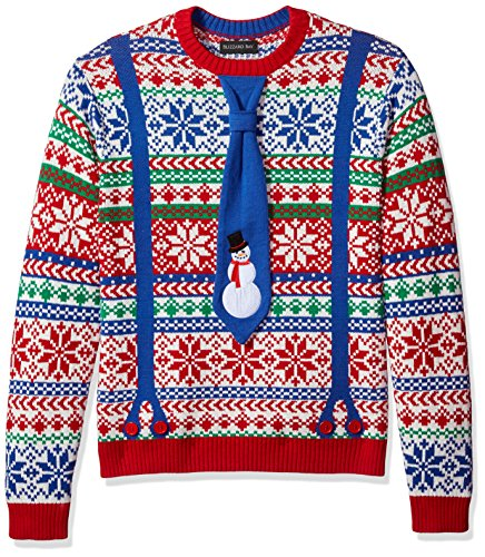 Suit Christmas Sweater (Blizzard Bay Men's Snowman Suspenders Crew Neck Ugly Xmas, Blue/Red Combo,)