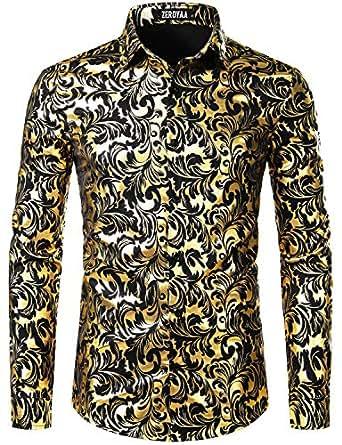 ZEROYAA Men's Luxury Paisley Gold Shiny Printed Stylish Slim Fit Button Down Dress Shirt - Gold - Small