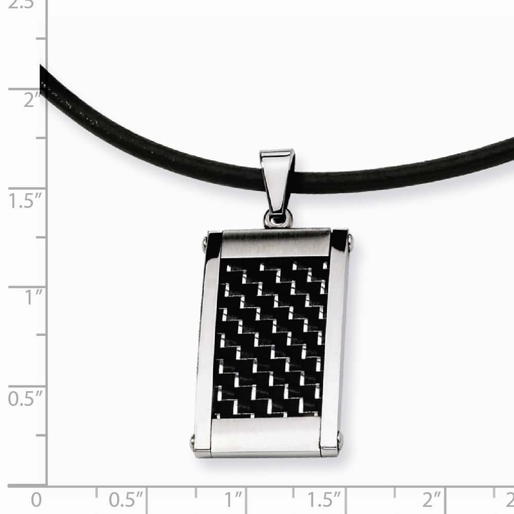 Goldia Stainless Steel Silver /& Black Carbon Fiber Pendant 18in Necklace