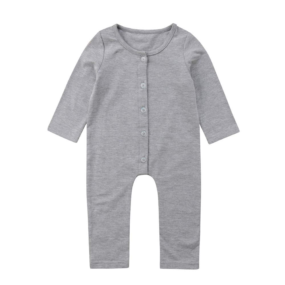 H.eternal Baby Girls Boys Button Snap Onesie Footless Long Sleeve Jumpsuit Sleep and Play Pure Color Bodysuit Casual Pramsuit Gray