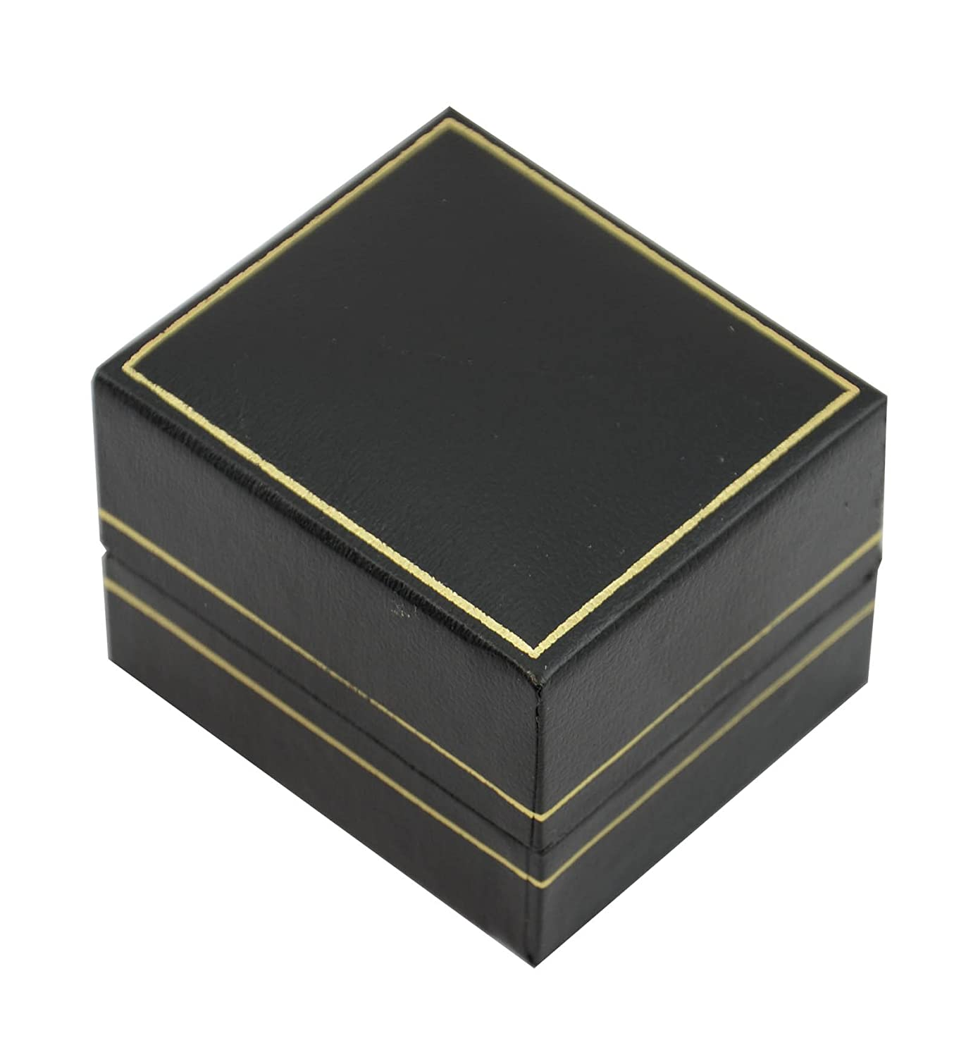 1 x STUNNING BLACK LEATHERETTE RING BOX WITH VELVET INSERT & GOLD TRIM BOX DISPLAYS® boxdisplays 162-1