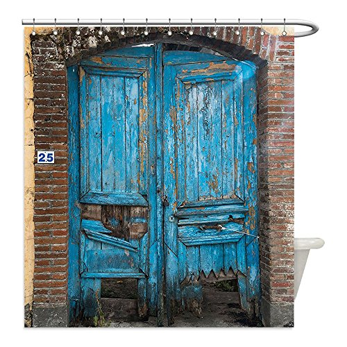 Liguo88 Custom Waterproof Bathroom Shower Curtain Polyester Rustic Home Decor Destroyed Broken Greek Doorway Color Traditional Cultural Home Icon Art Print Blue Decorative bathroom - Greek Warrior Costume Pattern