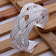 Dancing Zone Zb151 Large Woven Bracelet Top Quality,2015 New Arrival / 925 Silver Bracelet / Bangle Fashion Jewelry