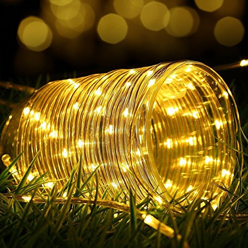 100 LEDs Solar Rope String Lights,WONFAST Waterproof 39ft/12M Copper Wire Outdoor Tube Fairy String Lights for Christmas Garden Yard Path Fence Tree Backyard (Warm White) (Solar Led Tube Powered)