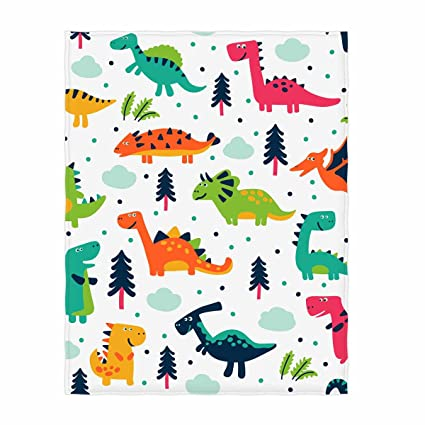 Amazon QH Printed Funny Dinosaurs Throw Blanket Cute Blanket Enchanting Dinosaur Throw Blanket