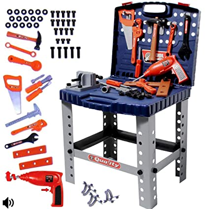 Awesome Deao Workshop And Tools Carrycase Playset Mechanic Work Bench With Fold Up Design Includes Multiple Accessories And Electric Drill Blue Creativecarmelina Interior Chair Design Creativecarmelinacom