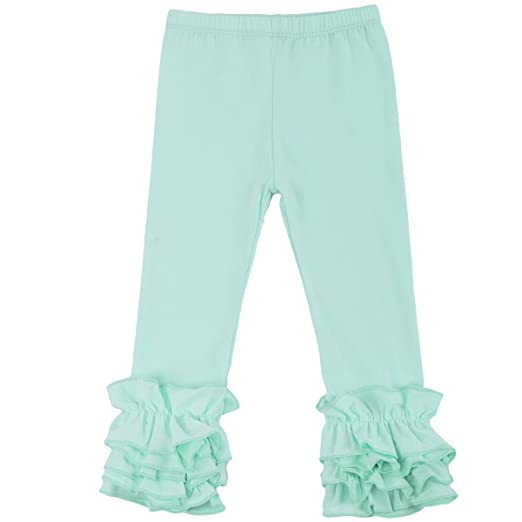 c2990d9c8fcde Toddler Girls Icing Ruffle Pants Kids Long Boutique Triple Ruffled Leggings  Pants Little Big Sisters Solid
