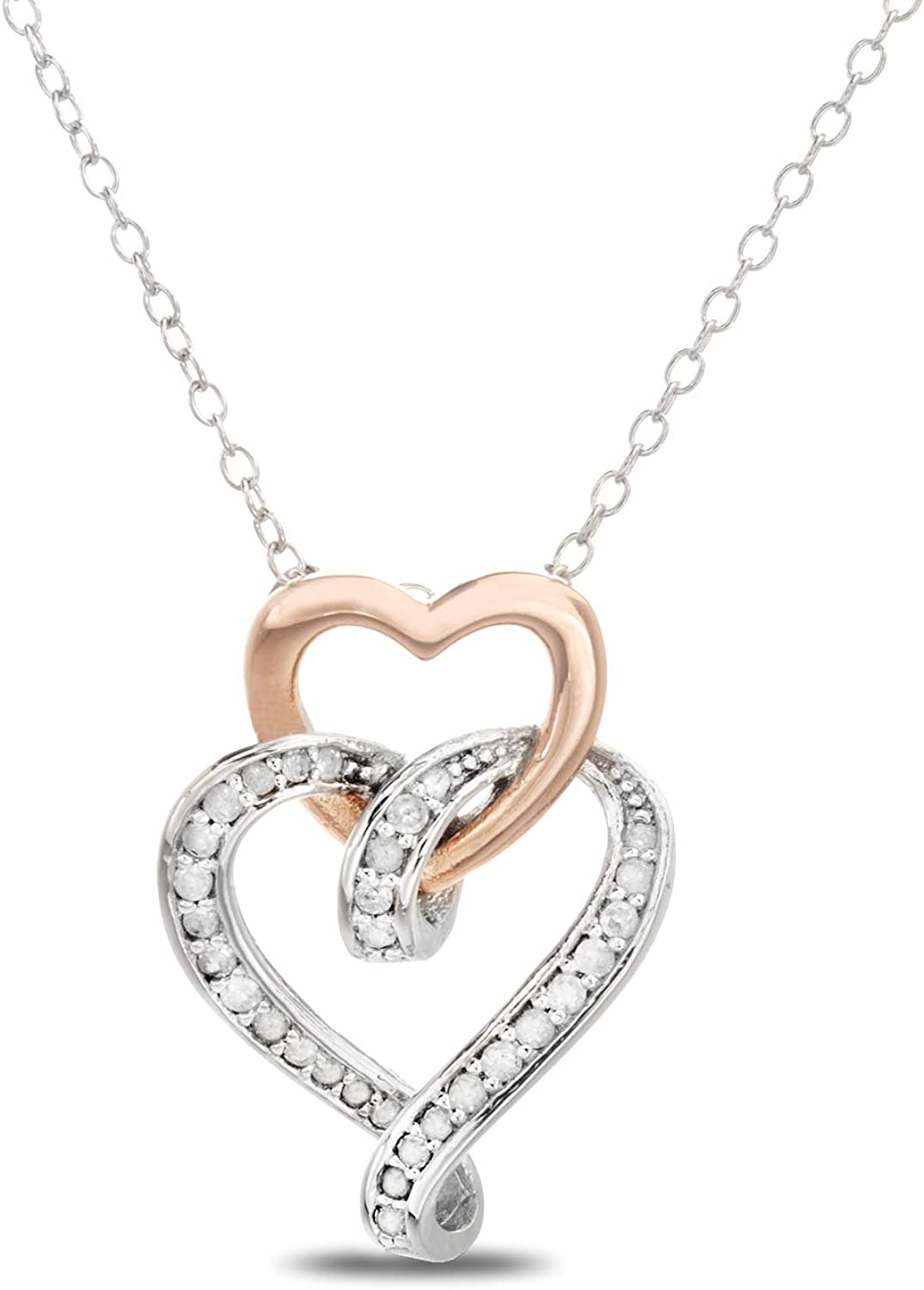 Devin Rose 1/4 Cttw Diamond Interlocked Open Heart Necklace for Women in Rhodium and Rose Gold Plated Sterling Silver