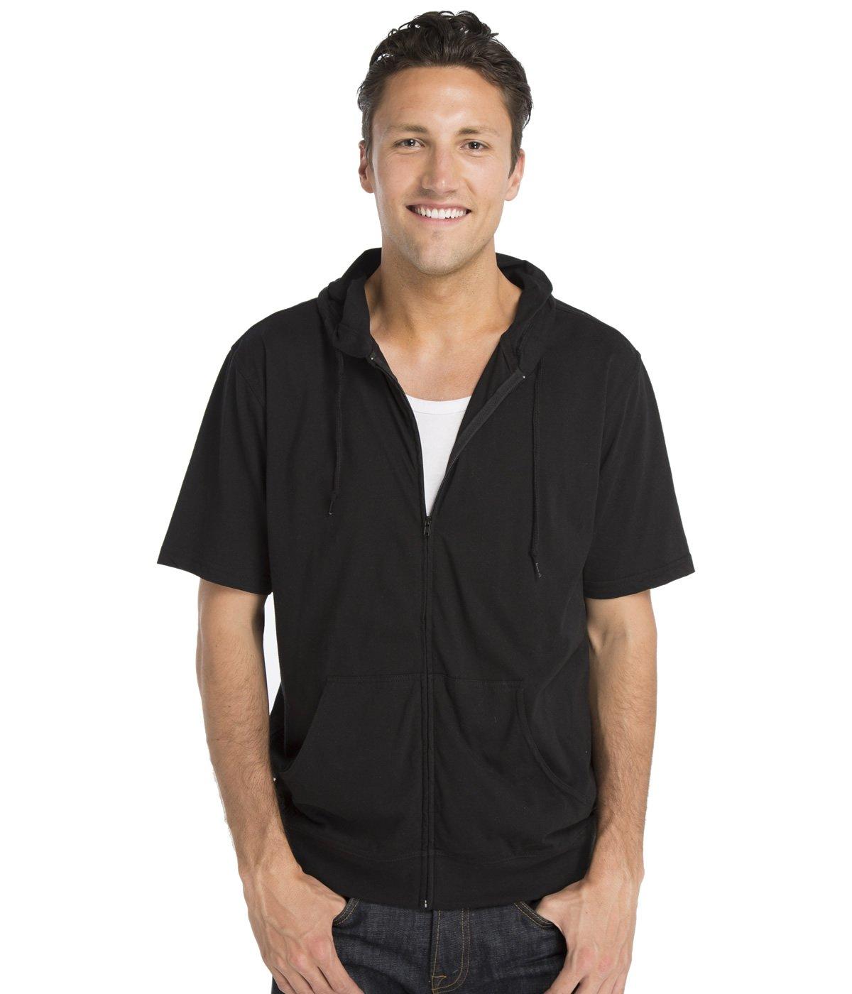 Cottonhood Short Sleeve Zip Hoodie Tee X-Large Black