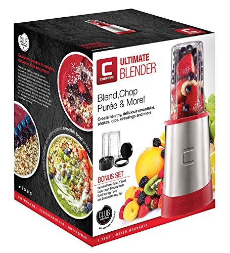 Chefman Ultimate Personal Smoothie Blender, Single Serve, Stainless Steel Blending Blade, 2 Travel Cups with Lids, Solid Storage Cover and Comfort Drinking Rim, 6 Piece - RJ28-6-SS-Red by Chefman (Image #7)'