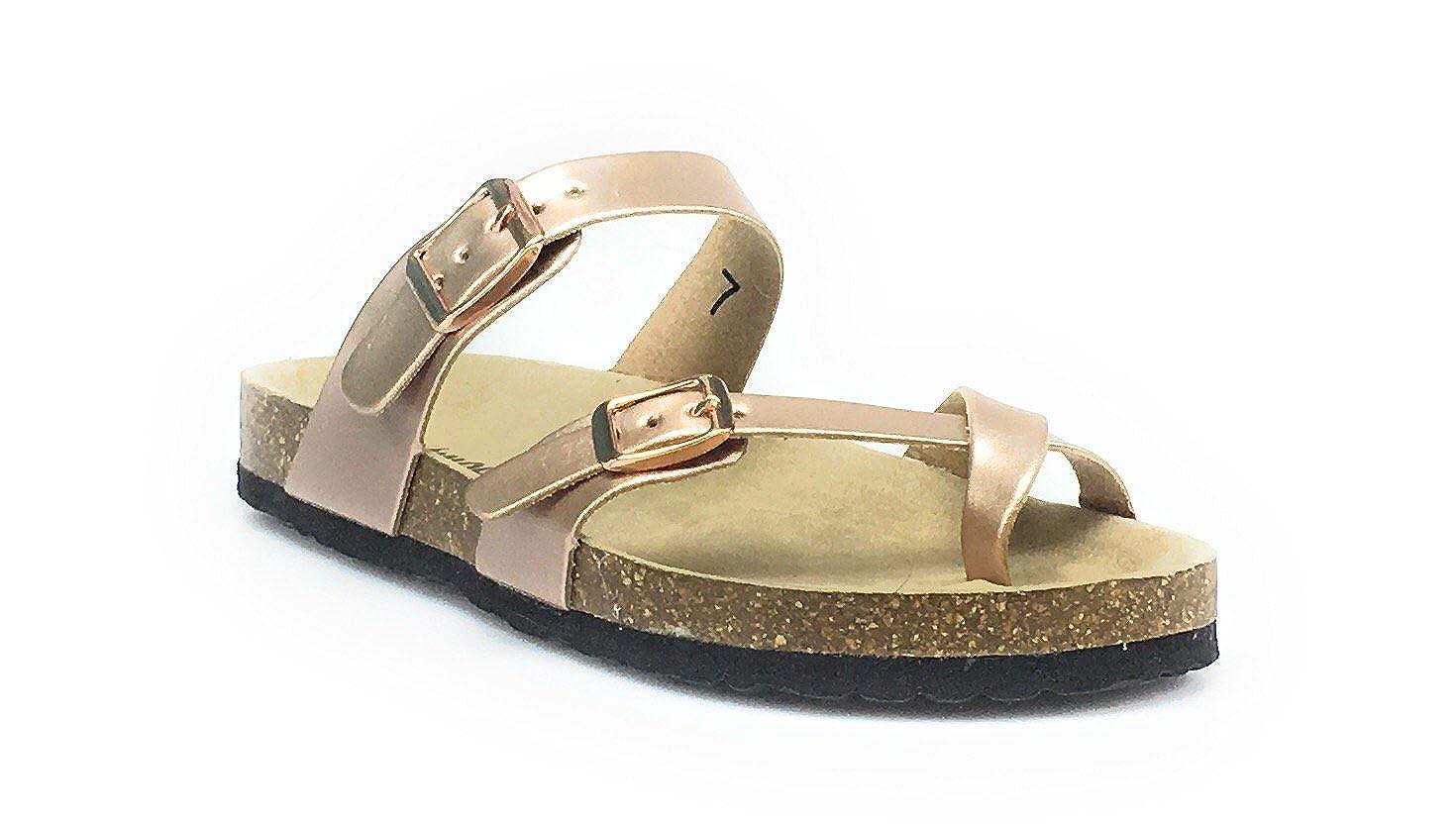 bb83a3c3a37d OUTWOODS Women s Bork-30 Vegan Leather Adjustable Strap Toe-Loop Buckle  Flats Sandals (6