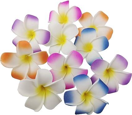 5-10PCS 2 Inch 10 Colors Hawaiian Plumeria Flower Hair Foam Hawaii Hair Clips
