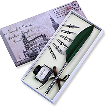 Vintage Feather Dip Fountain Pen Quill Pen Set with 5pcs Nibs Pen Stand Box