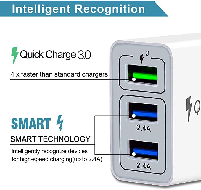HZQDLN Fast Wall Charger QC 3.0 USB Quick Charge 3 Ports Tablet iPad Phone Charger Adapter Travel Plug Compatible iPhone X//Xs//XS Max//XR//8//8+//7P//7//6//5 Samsung S8//S7//S6//Edge//LG HTC